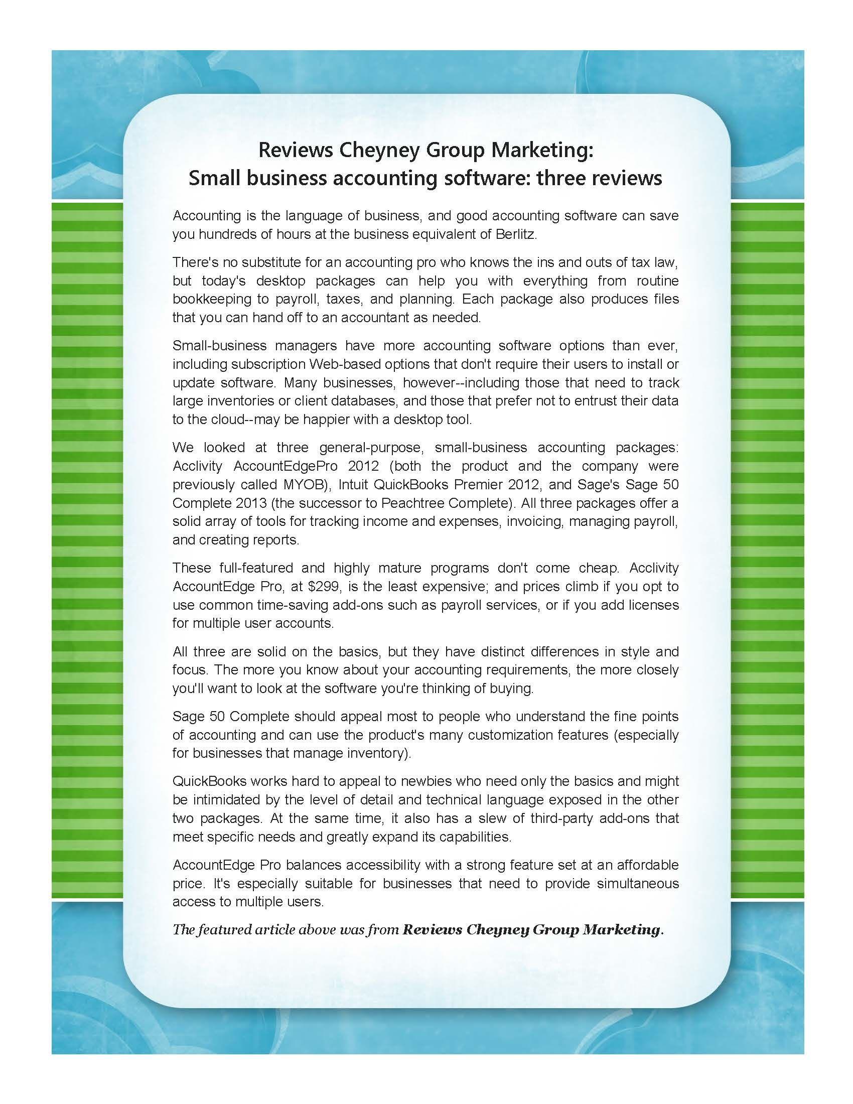 Small business accounting : three reviews – Reviews ...