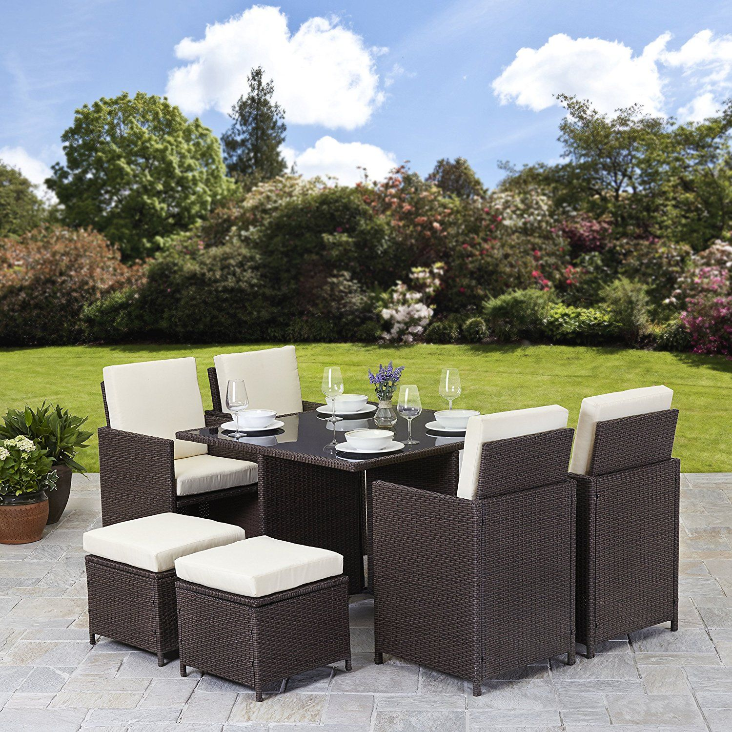 Rattan cube garden furniture set 8 seater outdoor wicker 9pcs brown amazon co uk garden outdoors