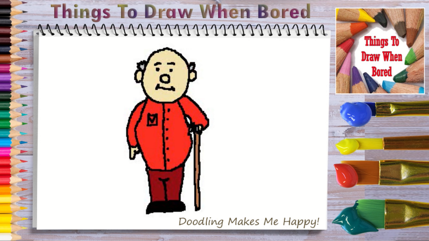 How To Draw An Old Man Things To Draw When Bored In 2020 Disney Characters Easy Simple Doodles Drawings