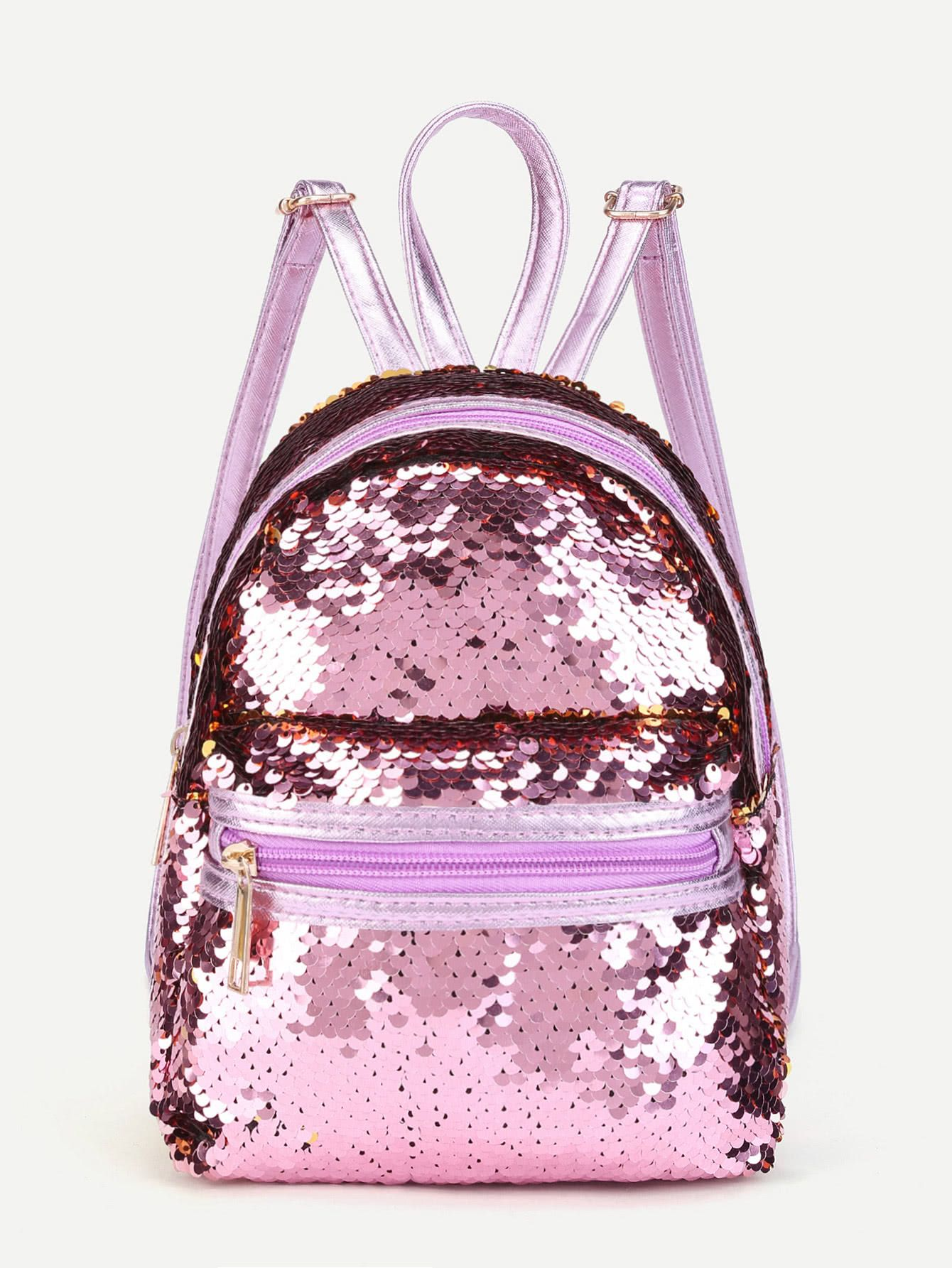 e32e6144a2 Shop Sequin Overlay Zipper Front Backpack online. SheIn offers Sequin  Overlay Zipper Front Backpack   more to fit your fashionable needs.