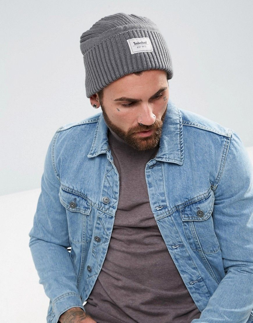 71aa8a407 TIMBERLAND GULF BEACH RIBBED BEANIE LABEL LOGO IN GRAY - GRAY ...