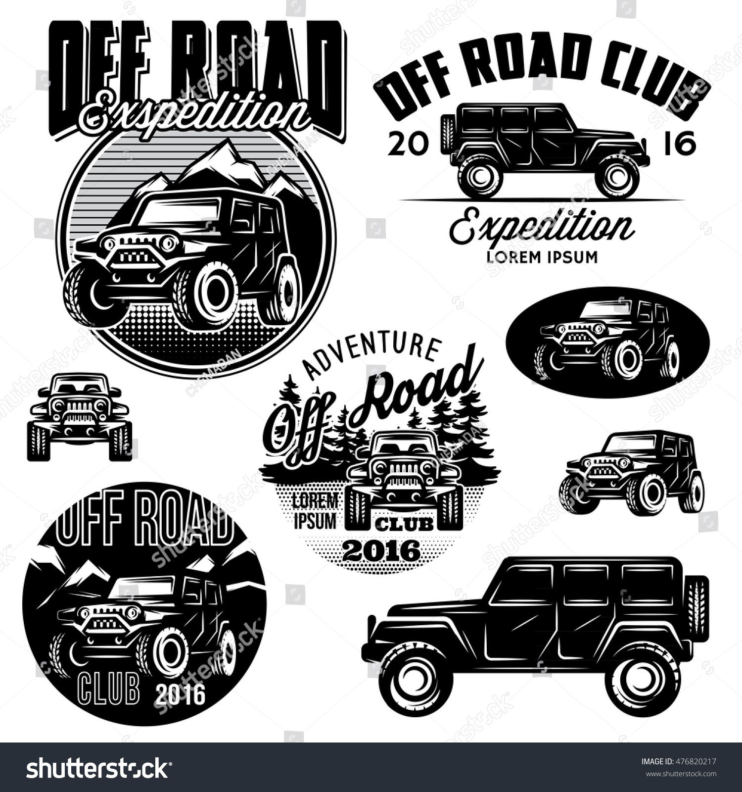 set of vector templates for SUVs offroad sport club logos