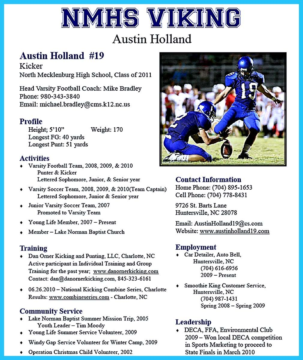 It is relatively easy to write an athletic training resume