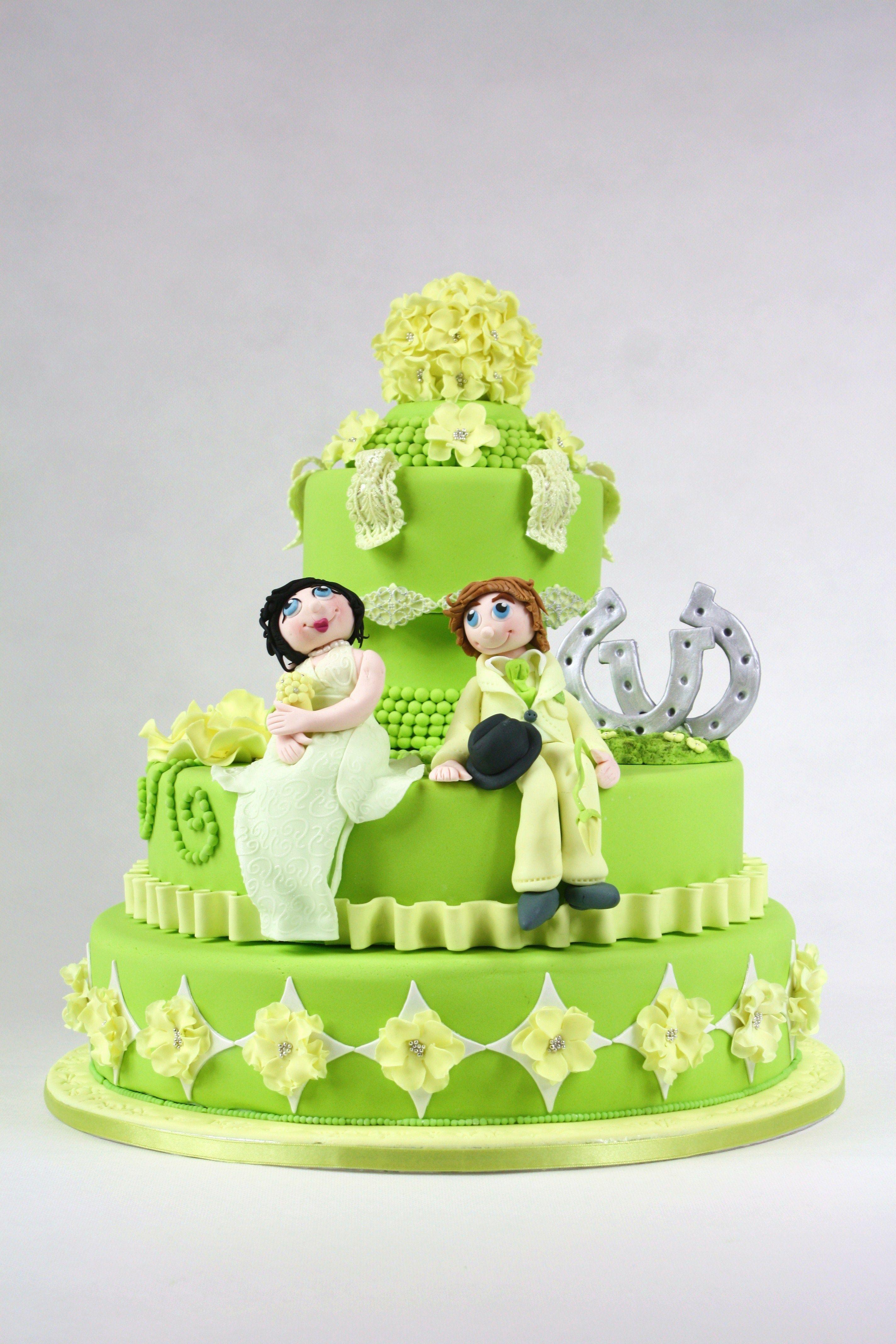 Yellow u green wedding cake by vera van oeveren cakes pinterest