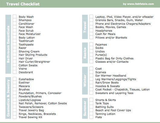Travel Checklist  Travel Packing Checklist Packing Checklist And