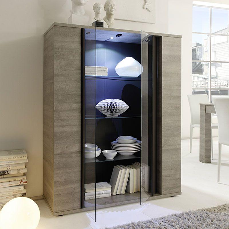 Vaisselier couleur bois gris moderne BURINA Vitrine - vaisselier