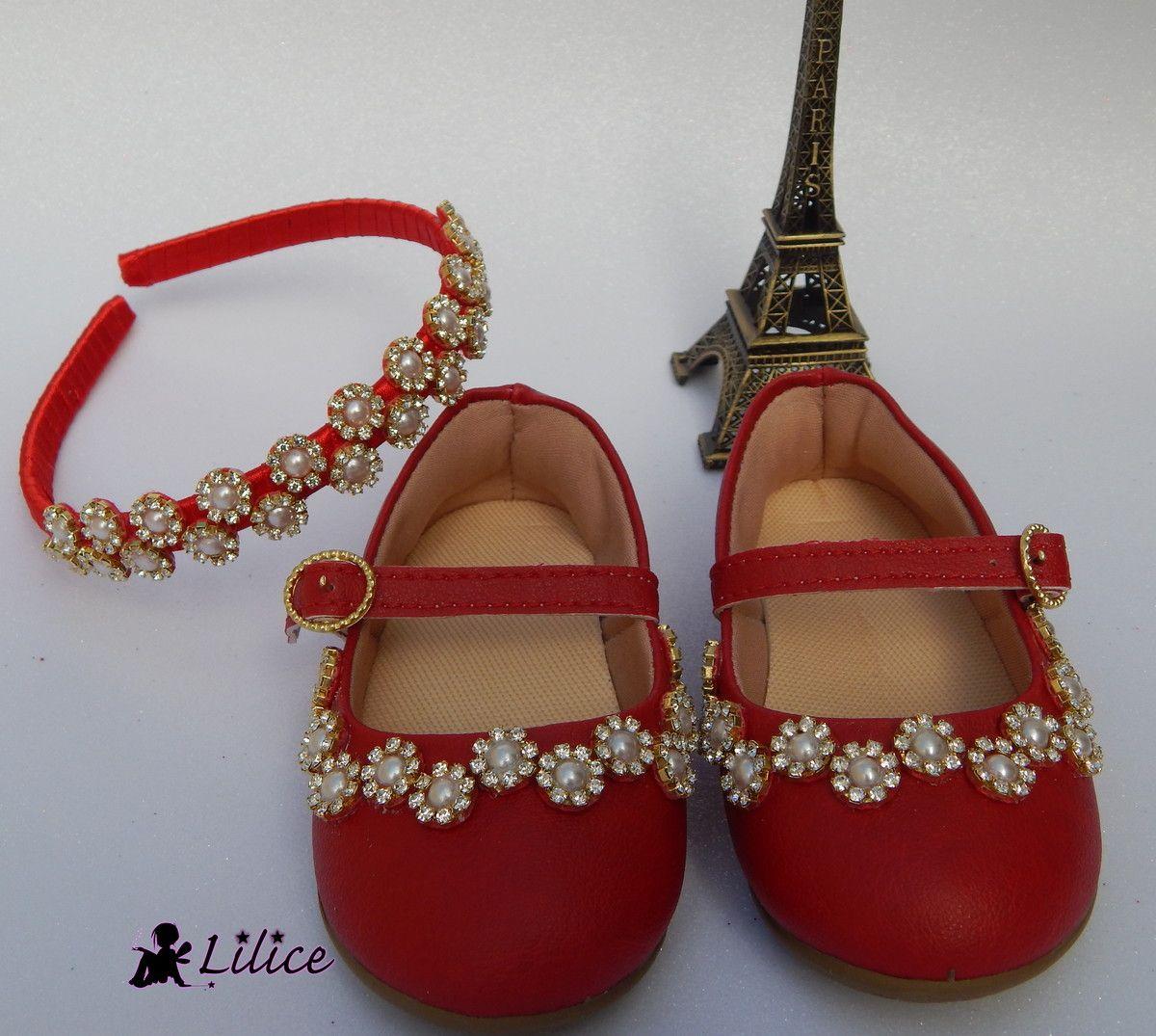 6f2c61733c2 Kit sapatilha e tiara luxo Sapatos De Pérolas