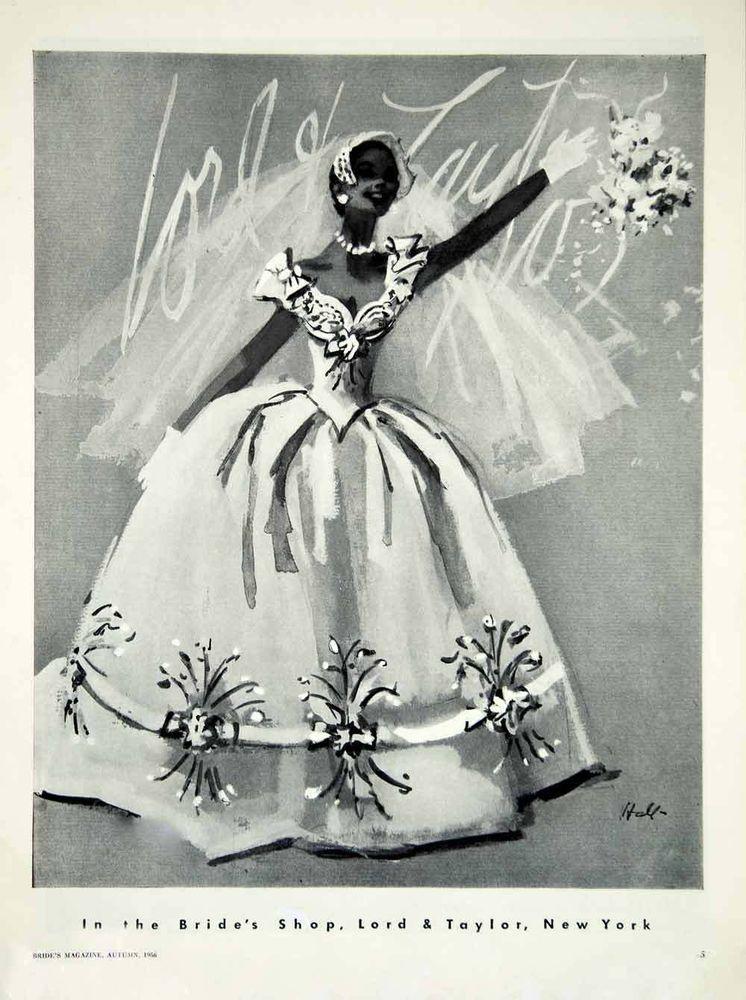 1956 Ad Vintage Wedding Dress Gown Bride Bridal Fashion Illustration ...