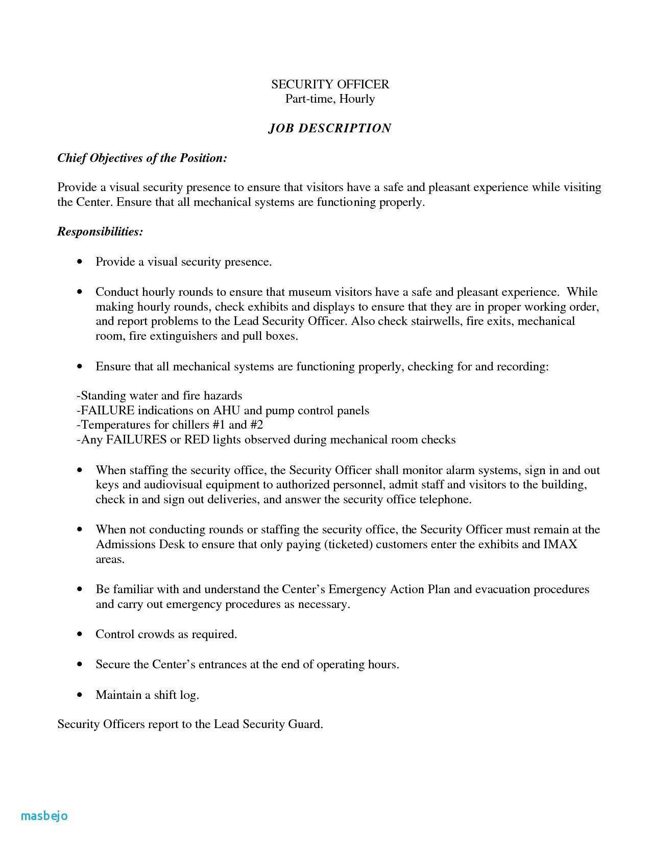 Correctional Officer Job Description Resume Unique Unique