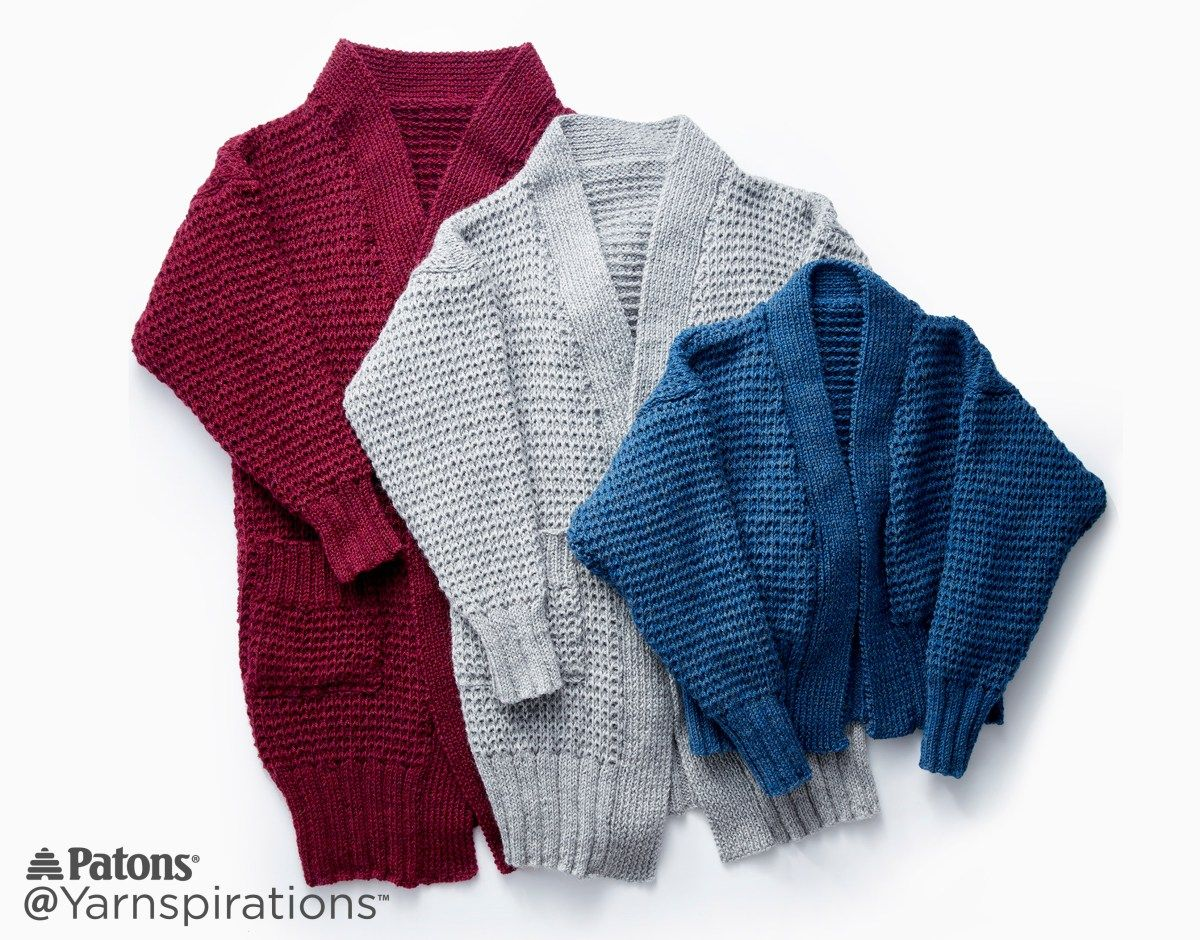 Patons Stitch Style: Long Weekend Knit Cardigan - Yarnspirations ...