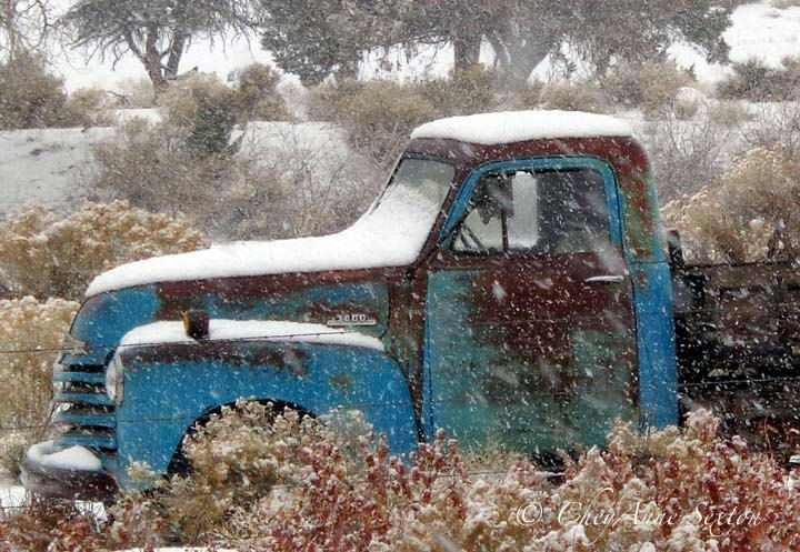 Items Similar To Old Blue Chevy Farm Truck In Winter Snow Storm   Large  20x29 Panoramic Giclee Fine Art Home Decor Print On Etsy