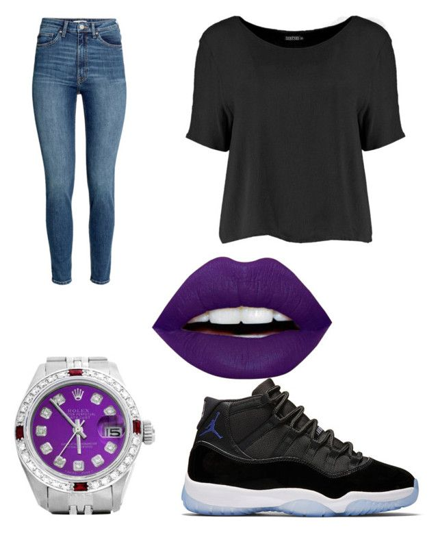 """Untitled #276"" by chloeaniyah8 ❤ liked on Polyvore featuring Boohoo, LunatiCK Cosmetic Labs and Rolex"