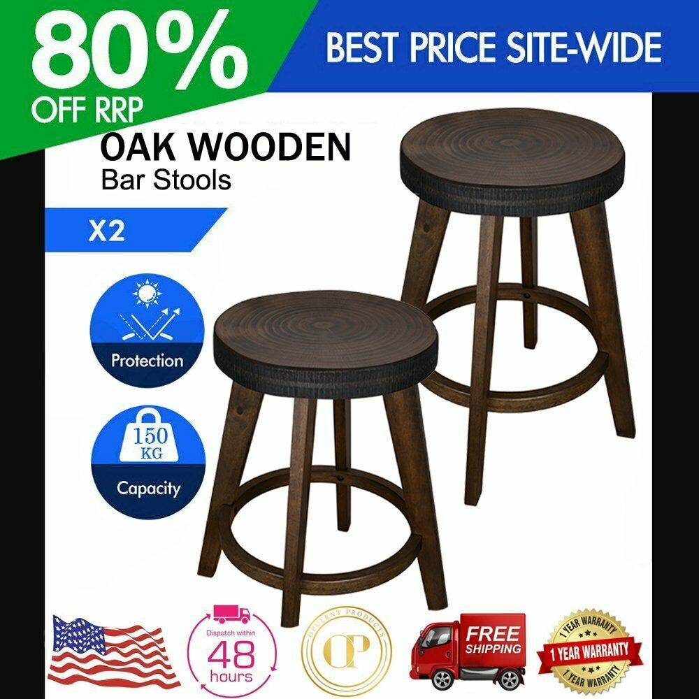Details About Set Of 2 Oak Wooden Bar Stools Bar Stool Kitchen