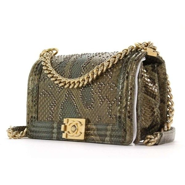 d8fb9ff76242 Chanel Python Boy With Swarovski Crystals Flap New Shoulder Bag ($10,099) ❤  liked on