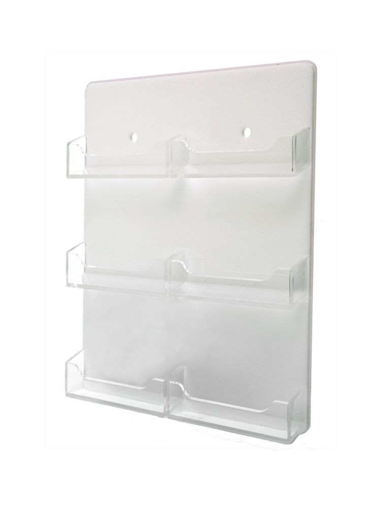 Wall Business Card Holder 6 Pocket Display White & Clear 6 Slot Rack ...
