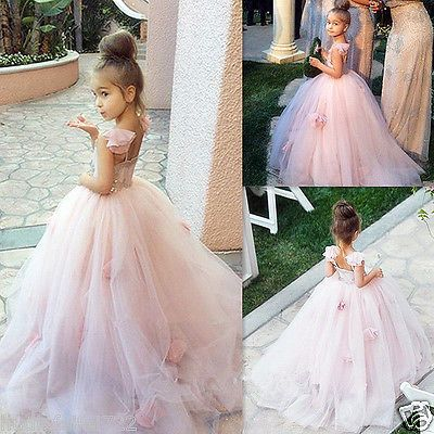 Formal Flower Girl Dress Kids Pageant Bridesmaid Wedding Prom Party Ball Gown