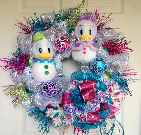 Disney Christmas Wreath, Christmas Wreath, Christmas Disney Wreath, Donald Daisy Wreath, Snowman Wreath, Tokyo Disney Plush