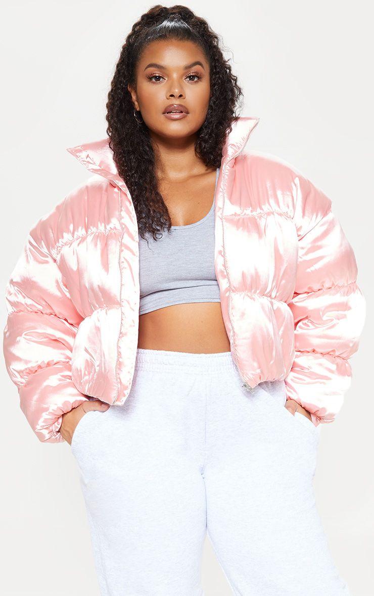 Plus Rose Satin Puffer Coat Plus Size Clothing Uk Plus Size Outfits Clothes [ 1180 x 740 Pixel ]