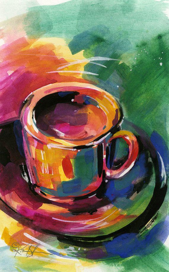 Coffee Dreams .... Original Coffee Cup painting by Kathy ...