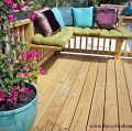 Pillows and cushions can easily be added or removed if we're entertaining on the deck