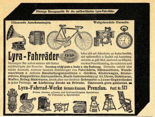 Hermann-Klaassen-Prenzlau-Lyra-Fahrraeder-u-Sportartikel-Reklame-von-1911
