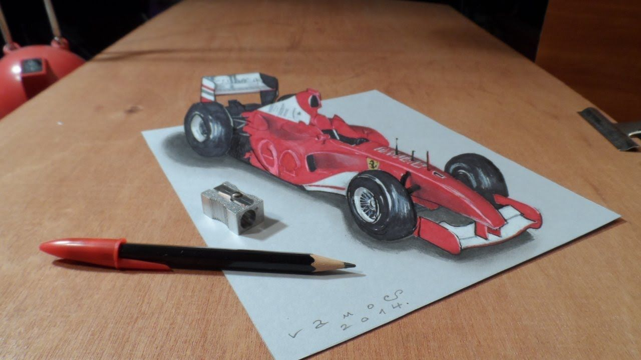 How I Draw A 3d Ferrari Formula 1 Car Trick Art By Vamos Art Tips White Gel Pen Beautiful Pen