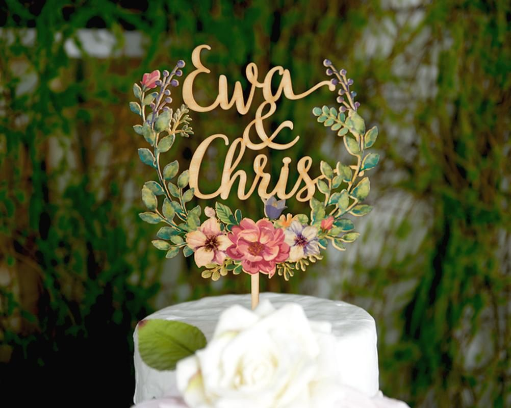 Wooden Floral Wreath Cake Topper Wedding Decoration