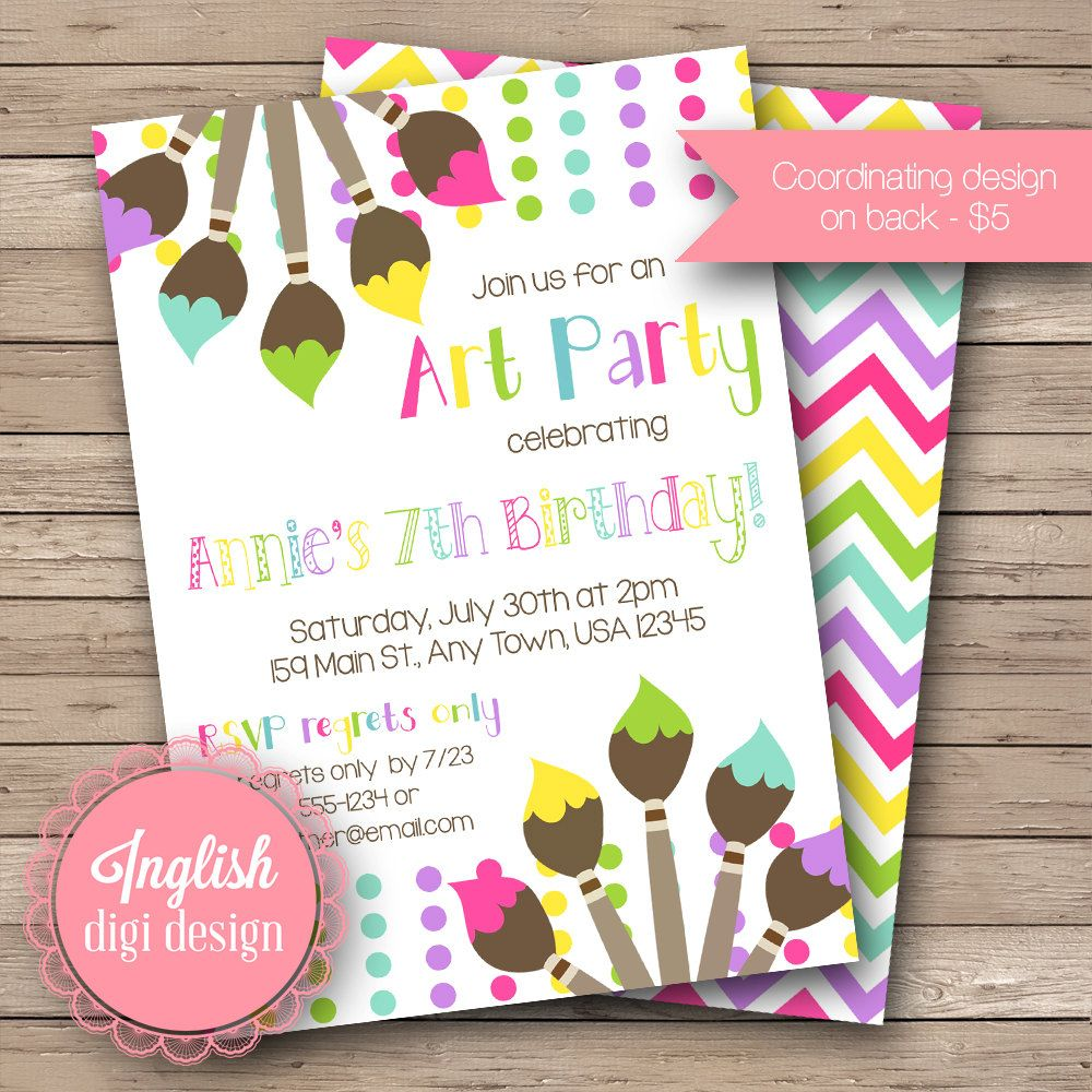 Art Party Birthday Invite, Painting Party, Paint Brushes, Paint ...