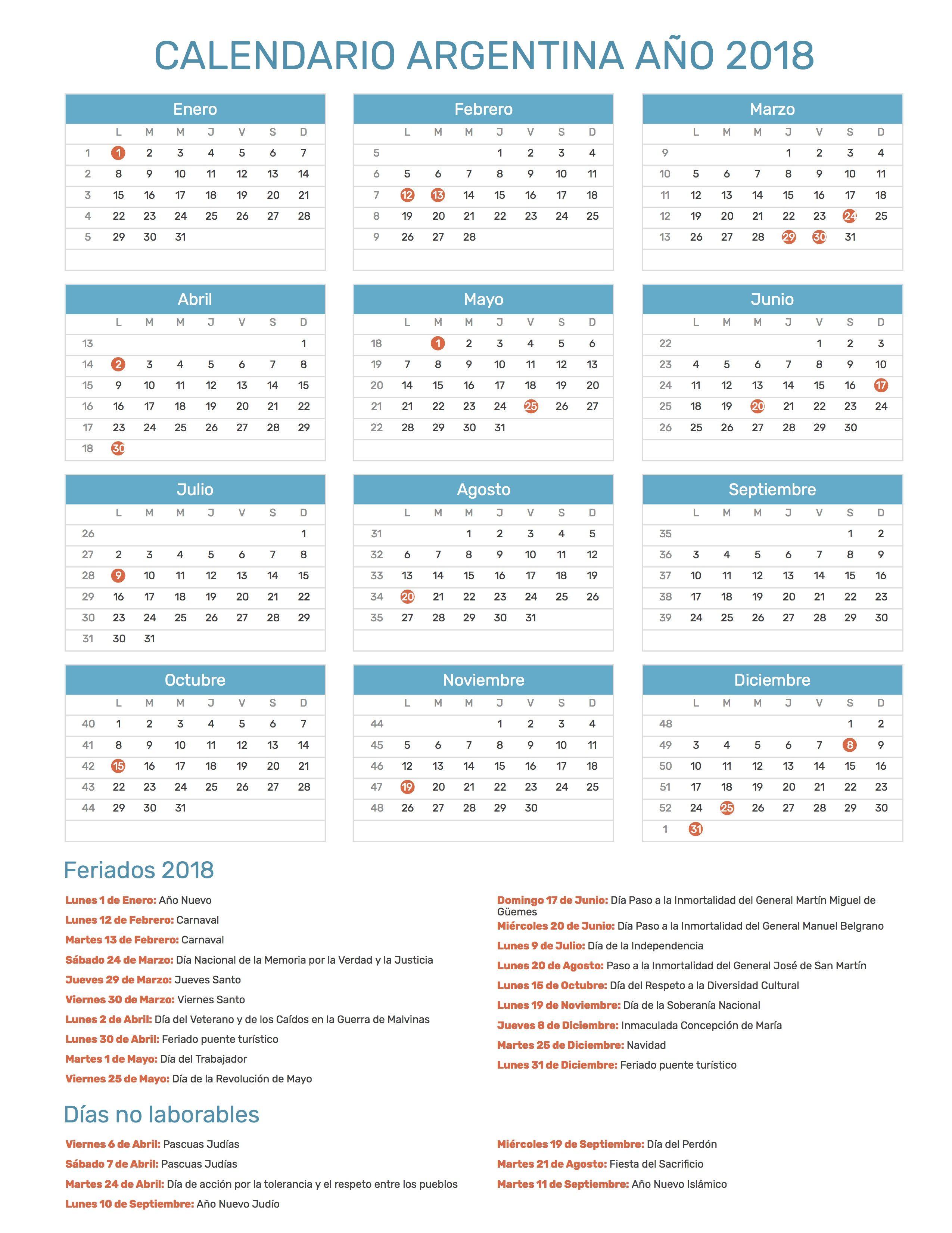 Calendario de Argentina con feriados nacionales año 2018. Incluye ...