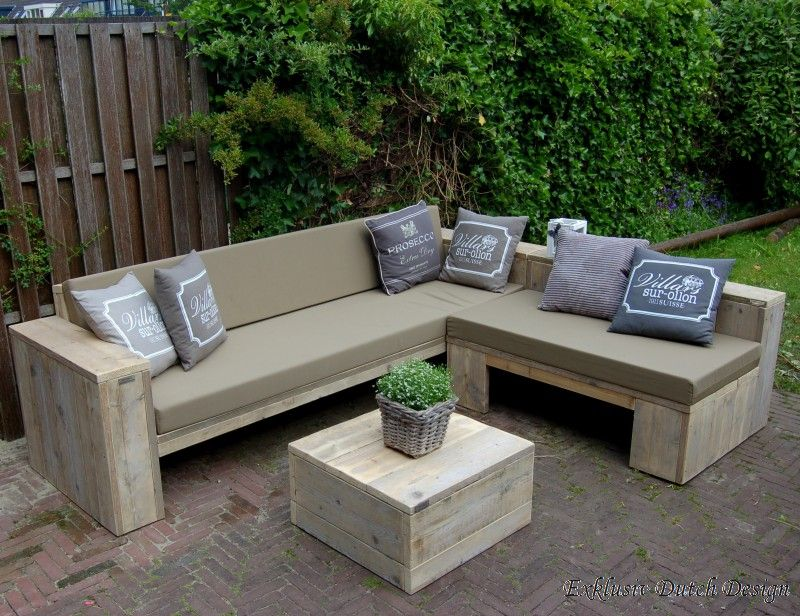 Lounge Ecksofa aus Bauholz unbehandelt mit Standard 161 Taupe - gartenmobel selber bauen lounge