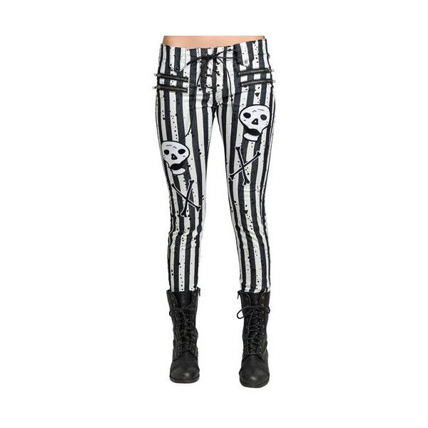 Moto Jeans - Stripe Skull - by TooFast Clothing Too Fast Clothing Punk... ($69) ❤ liked on Polyvore featuring pants, bottoms and jeans