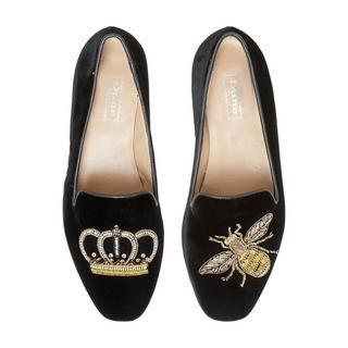 231ddab9e Exude preppy style with this Giorgette Queen Bee loafer by Dune London. A slipper  cut design with round toe and low block heel. Finished with an embroidered  ...