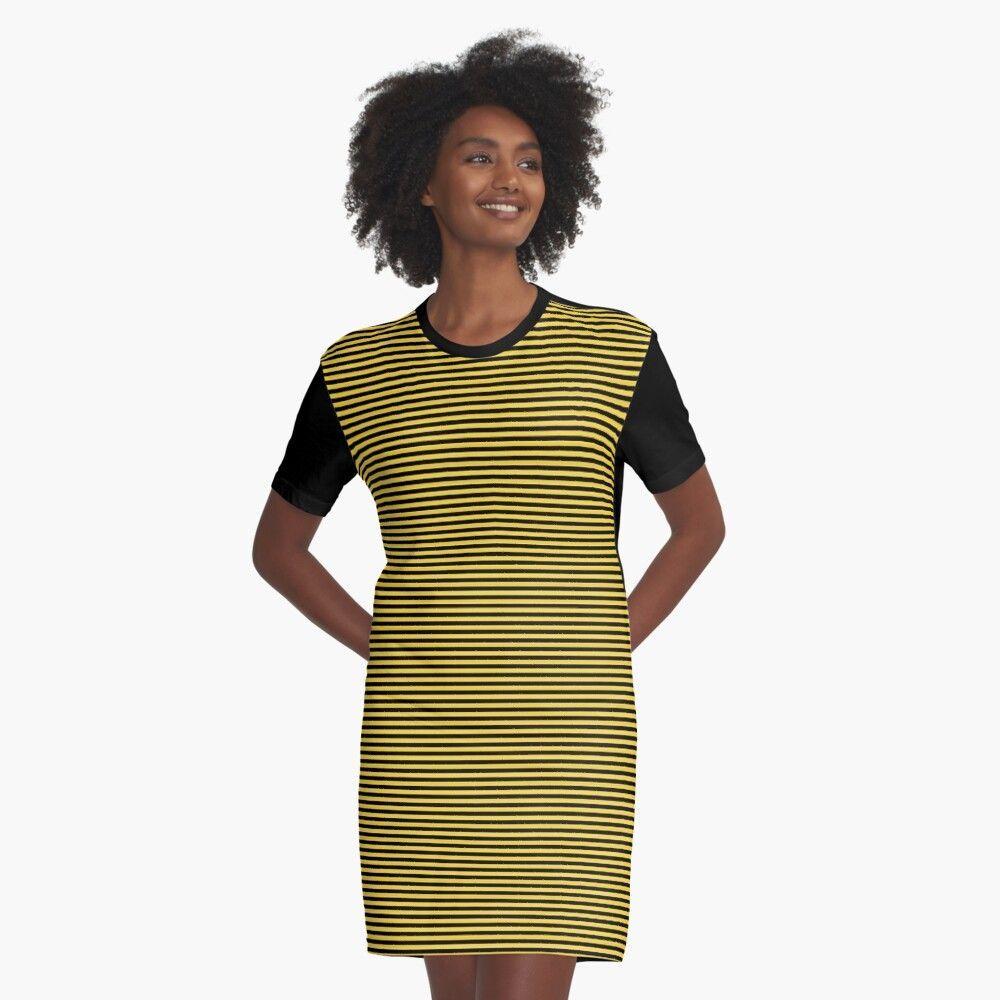 Yellow and Black Honey Bee Horizontal Nautical Sailor Stripe Graphic TShirt Dress by podartistbee
