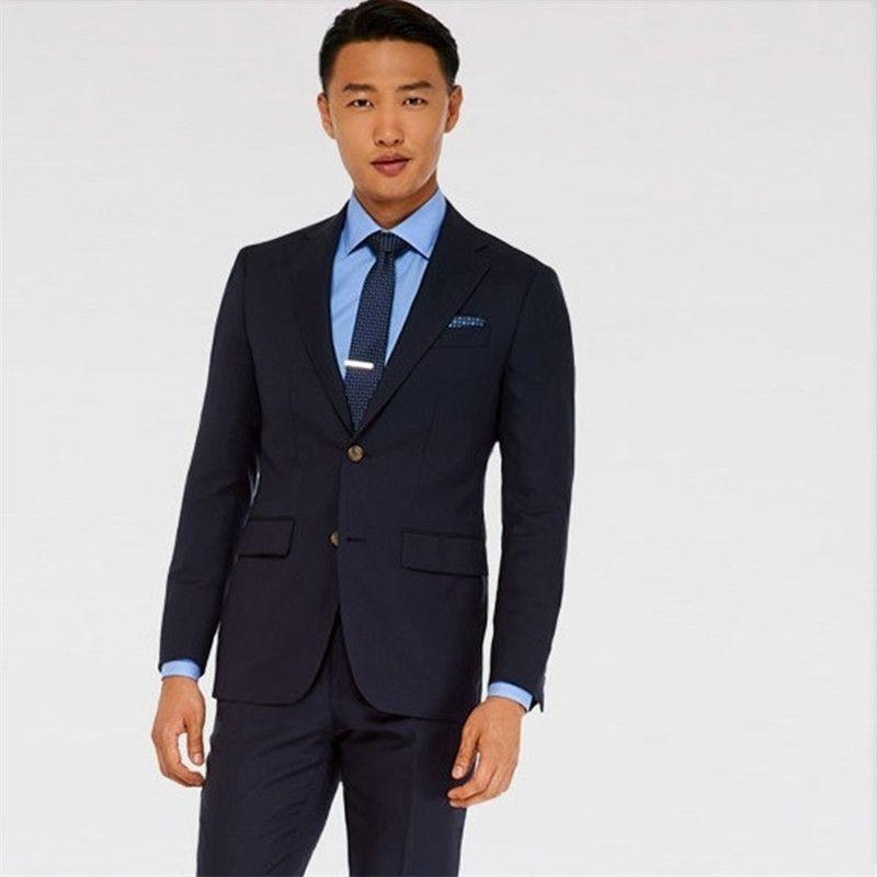 tuxedo groom suit dark blue high quality summer suits wool bleed ...