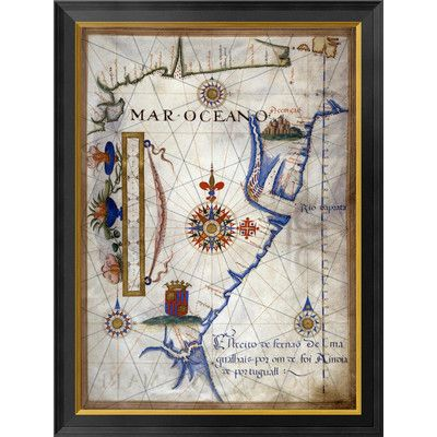 Global Gallery Mar Oceano - Portolan Atlas Illumination by Sebastiano Lopes Framed Graphic Art on Canvas Size: