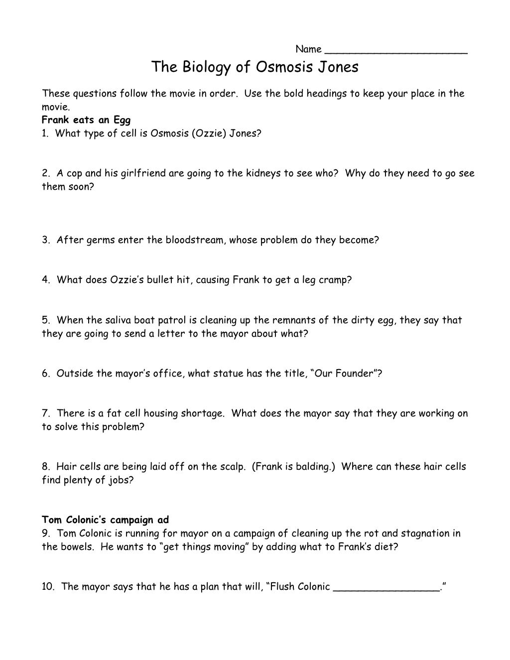 Worksheets Osmosis Jones Worksheet Answers name the biology of osmosis jonesthese questions follow movie the