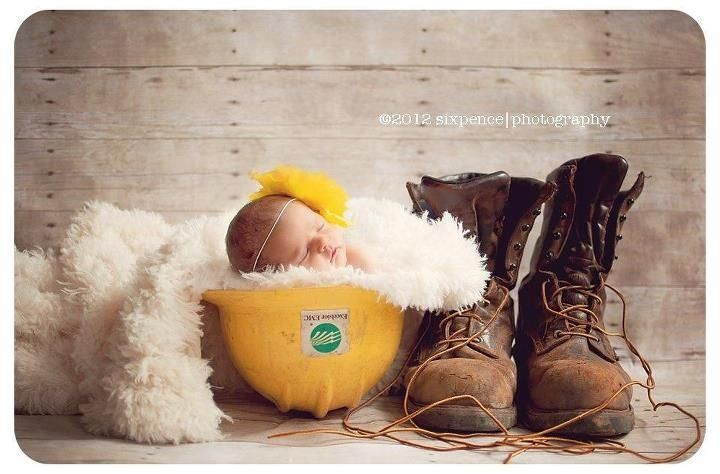 We will be doing this! Our sweet baby girl in Daddy's hard hat & climbing boots!!! LOVE