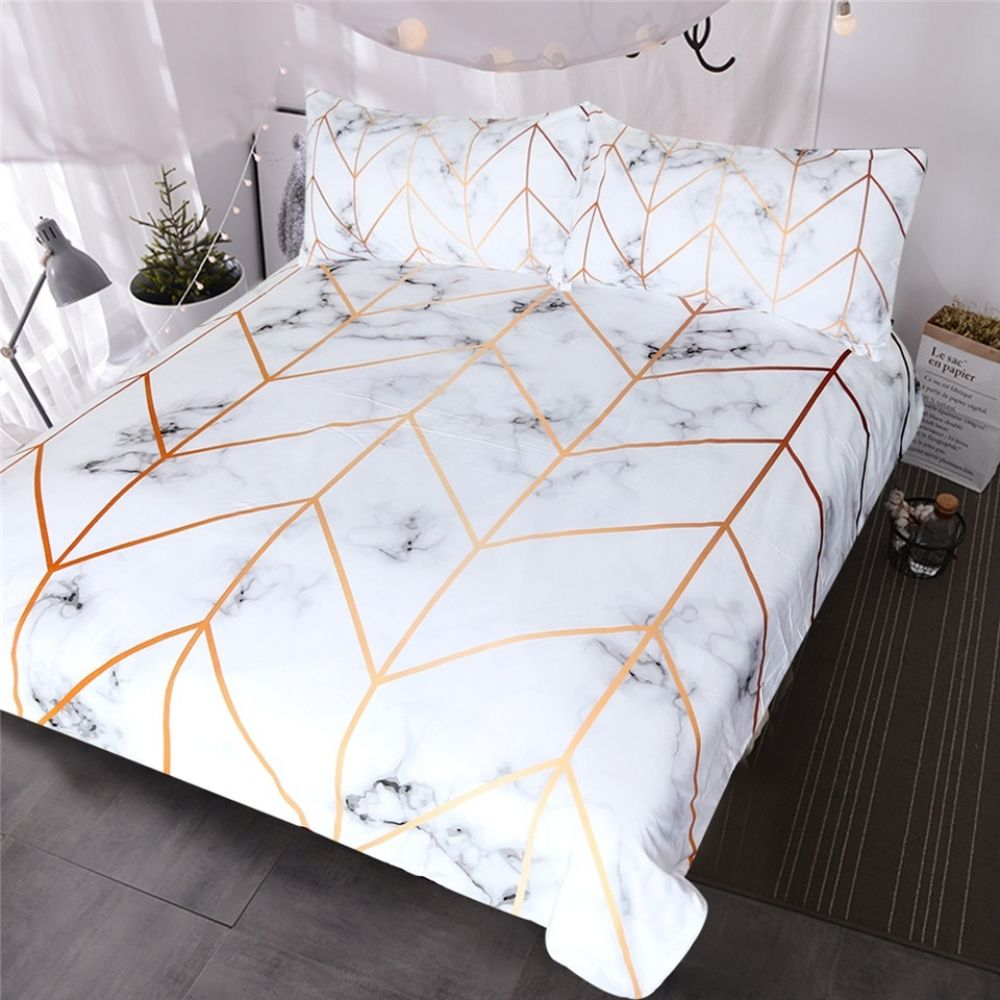 Blessliving Marble Texture Bedding Set Black White Golden Duvet