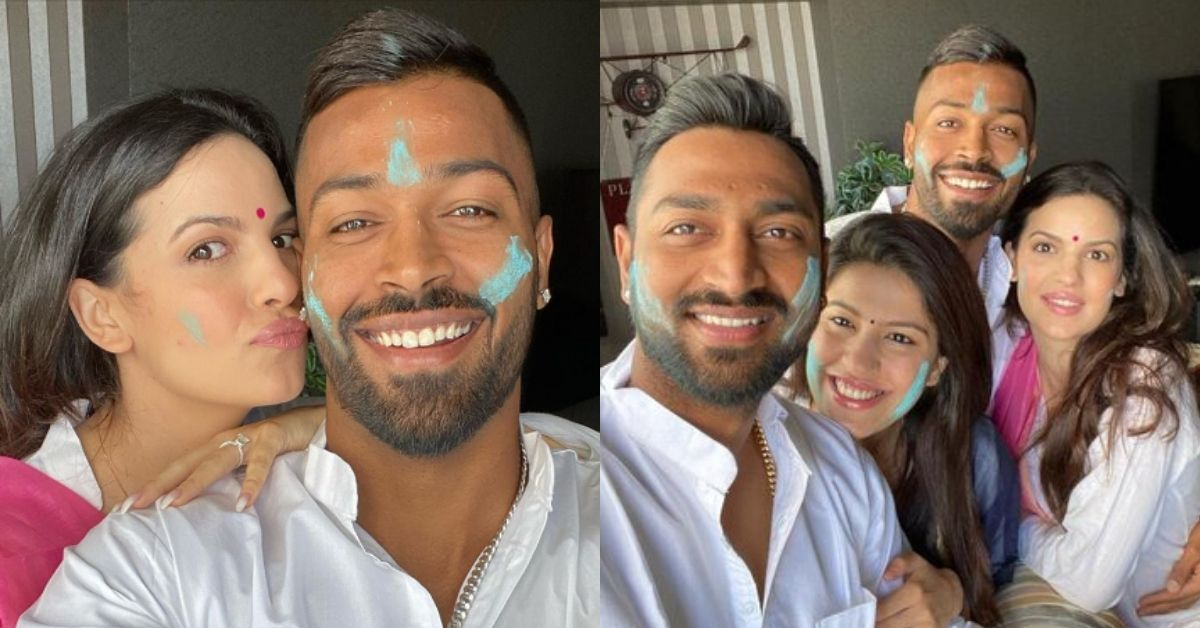Natasa Stankovic Celebrates Holi With Fiance Hardik Pandya And Family See Pics In 2020 With Images Engagement News Fiance Celebrities