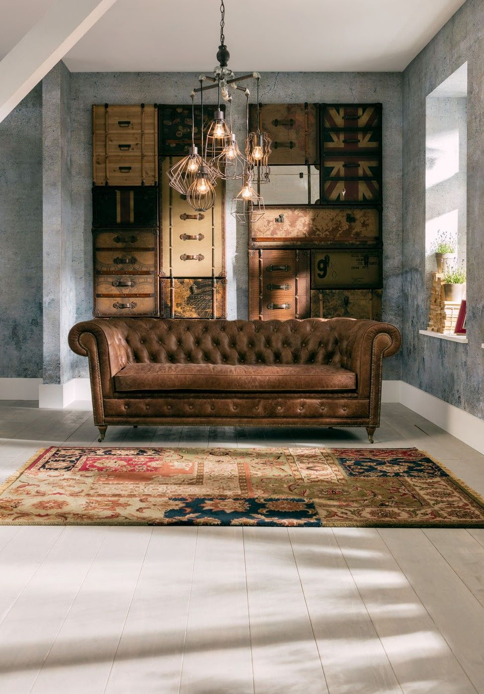 Chesterfield Wohnzimmer Sofa Oxford Aus Echtleder Style Industriell Chesterfield Sofa