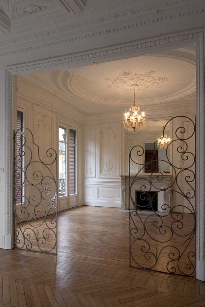 french apartment not sure about the iron gates for inside but oh those ceilings those walls. Black Bedroom Furniture Sets. Home Design Ideas