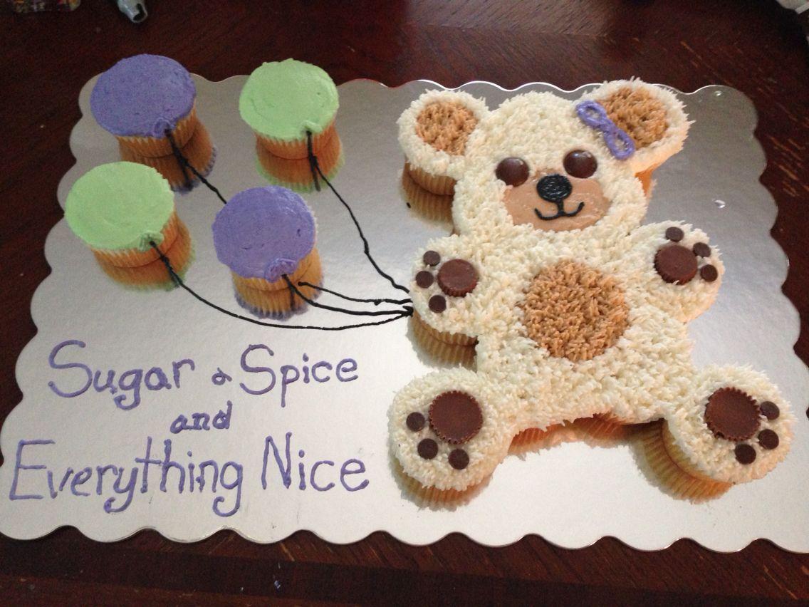 Teddy Bear Cupcake Cake For Little Girl Baby Shower
