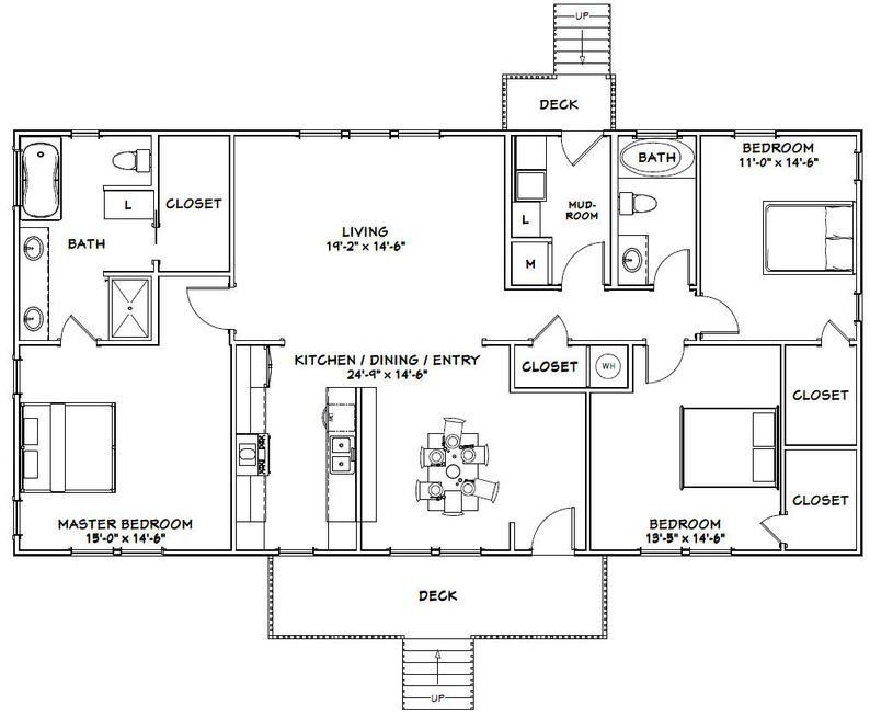 60x30 House 3 Bedroom 2 Bath 1 800 Sq Ft Pdf Floor Plan Instant Download Model 3 In 2020 Ranch Home Floor Plans Barn Homes Floor Plans Metal House Plans