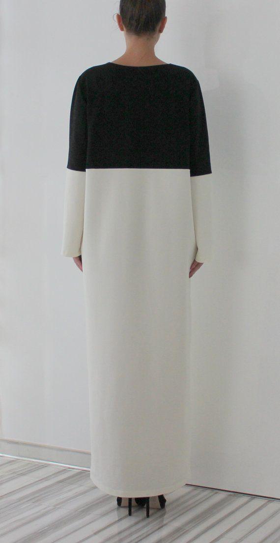 Black And White Maxi Dress Caftan Plus Size Dress Long Dress Long Sleeves Dress Fall Winter D Elegant White Dress Black White Maxi Dress Hijabista Fashion