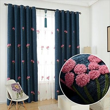 Flower Embroidered Blue Curtains | Drapes Vs Curtains Blog