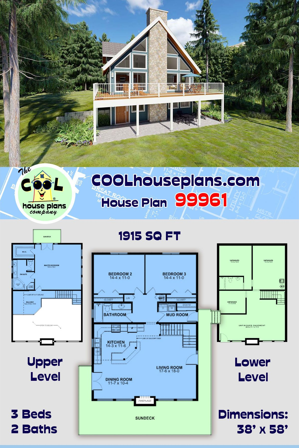 Traditional Style House Plan 99961 With 3 Bed 2 Bath In 2020 Lake House Plans Sloping Lot House Plan House Plans