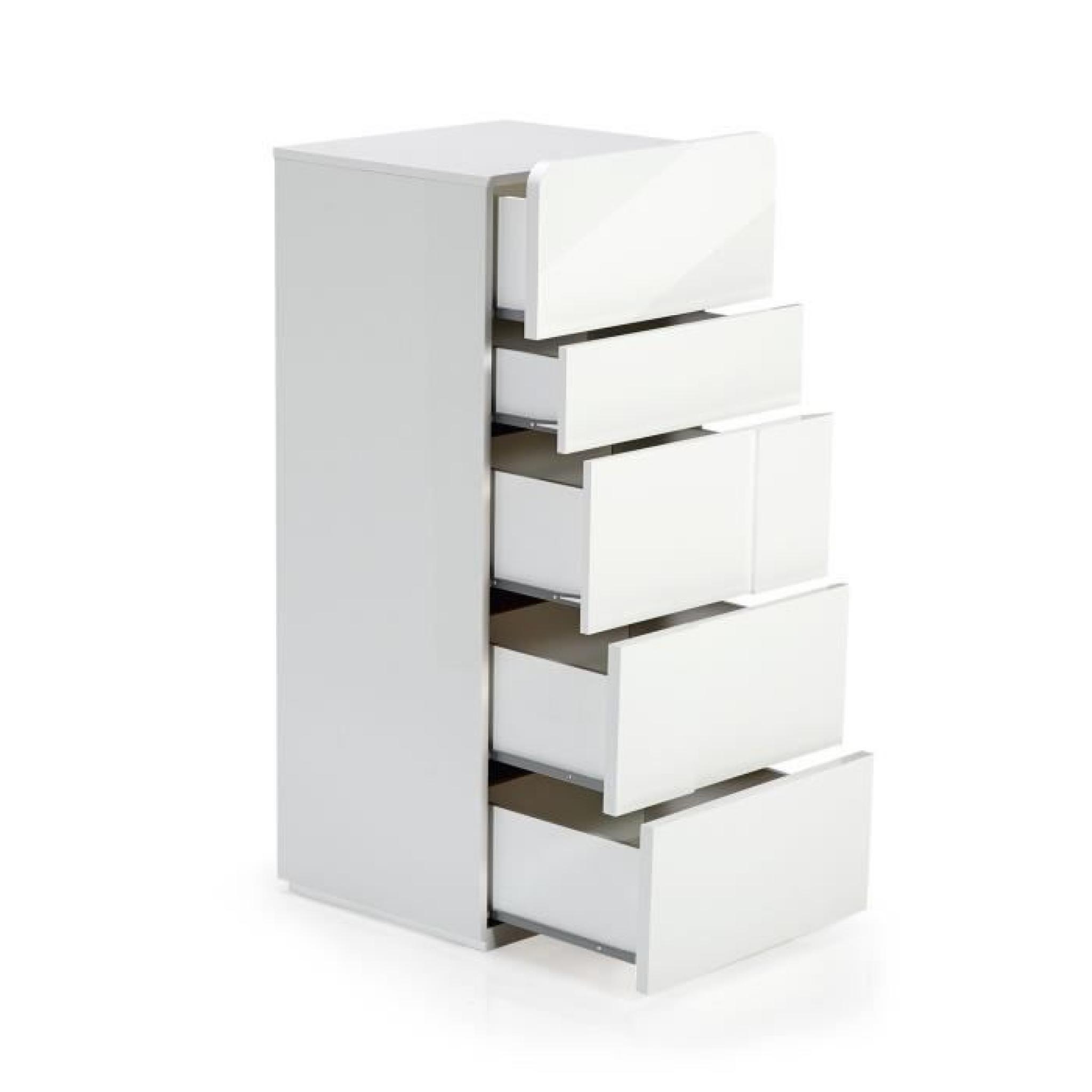 Magnifique Chiffonnier 5 Tiroirs Blanc D Coration Fran Aise  # Commode Laquee Blanche Avec Tiroirs Rabattables
