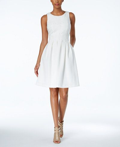 Ivanka Trump Sleeveless Lace Top Fit & Flare Dress