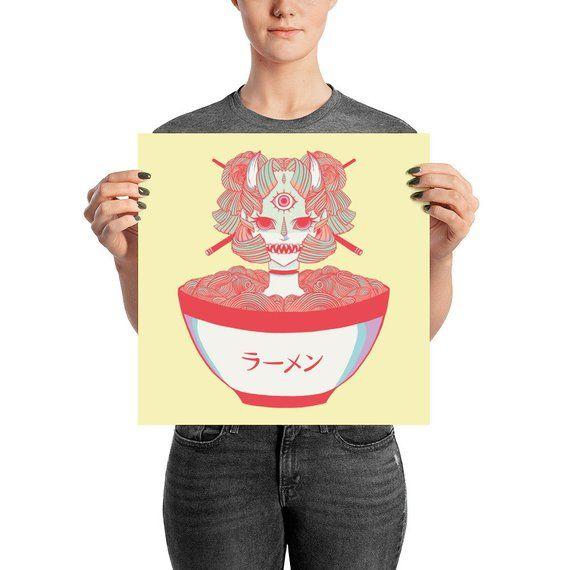 562a5f39cf982 Monster Girl Ramen Noodle Manga Wall Art Home Decor, Anime Drawing ...