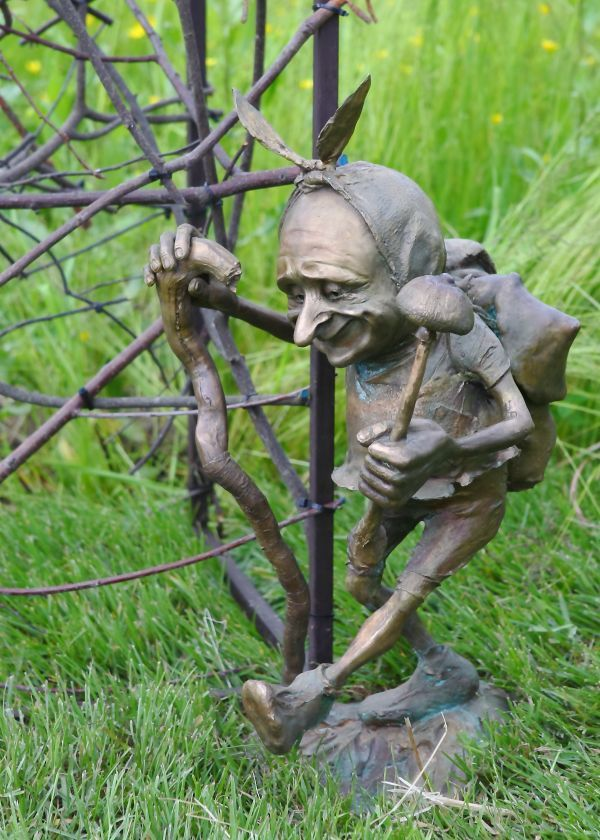 Amazing Garden Or Yard / Outside And Outdoor By Victoria Chichinadze Titled:  U0027Mushroomer (bronze Imp Elf Troll Pixie Gnomes Amusing Sculptures)u0027.